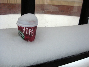 coffee in the snow